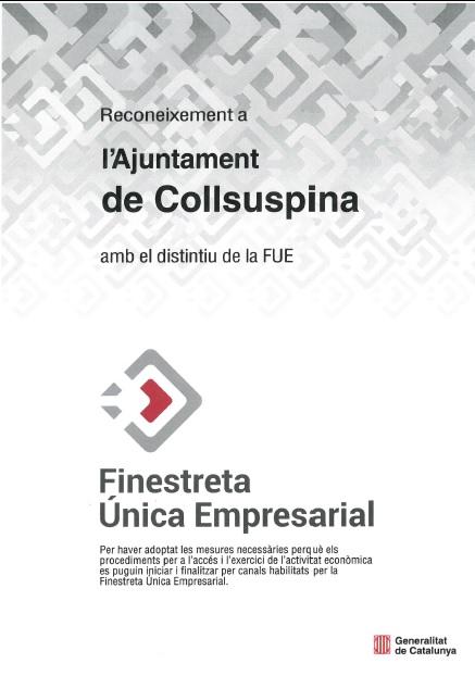 Reconeixement a l'Ajuntament de Collsuspina amb el distintiu de la FUE
