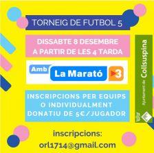 Collsuspina amb La Marató de TV3: Torneig de futbol 5. Cartell promocional