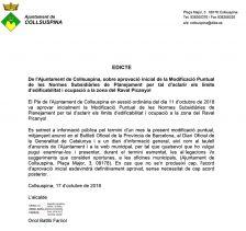 Edicte d'aprovació de la Modificació Puntual de les Normes Subsidiàries de Planejament