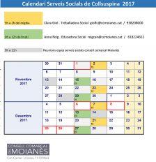 Calendari Serveis Socials de Collsuspina  2017