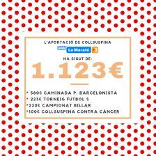 La Marató de TV3 a Collsuspina, un èxit. Cartell de l'aportació