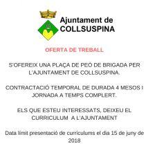 Oferta de treball temporal a Collsuspina. Anunci