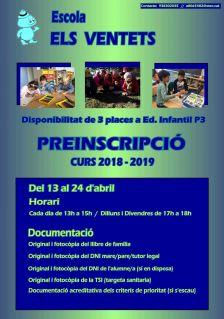Preinscripció escolar per al curs 2018-2019